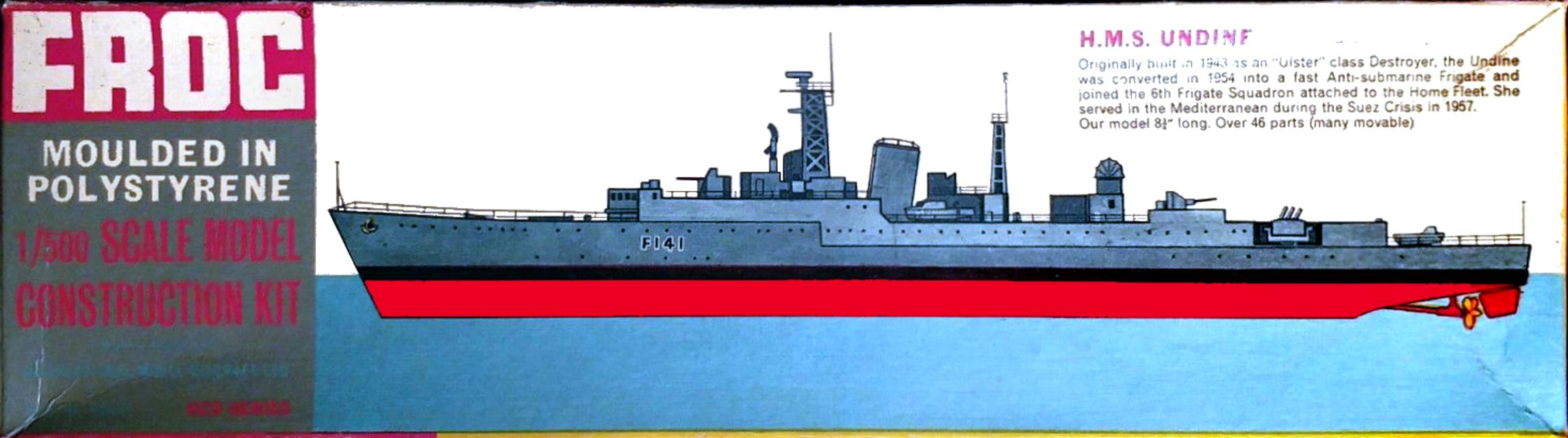 Коробка FROG 126P HMS Undine Anti-Submarine Frigate, Red Series, International Model Aircraft Ltd, 1963